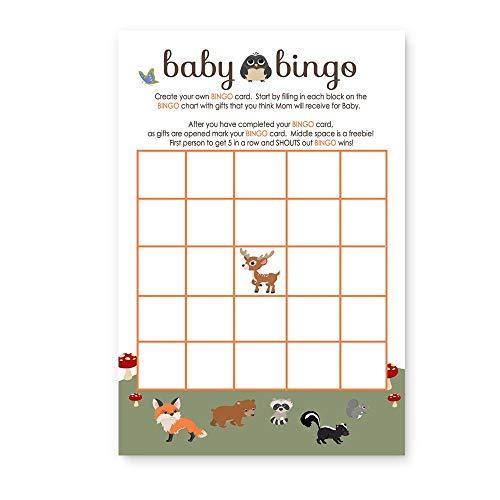 Woodland Baby Shower Bingo Game - Pack of 25 (Baby Shower Bingo Owl)