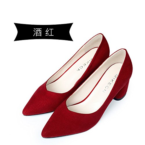 Tacones Jqdyl con red Thick Matte Pointed Heels Spring High New dPHrP