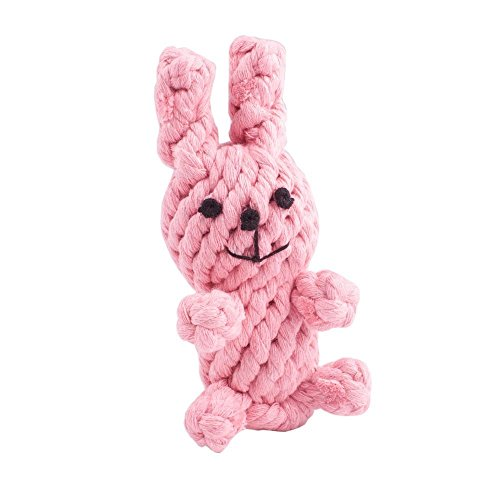 Pink Rabbit Toy - Dog Puppy Pets Toys Chew Teeth Cleaning Cotton Rope Toys Biting Resistant Braided Cute Woven animals Environmental-Pink Rabbit