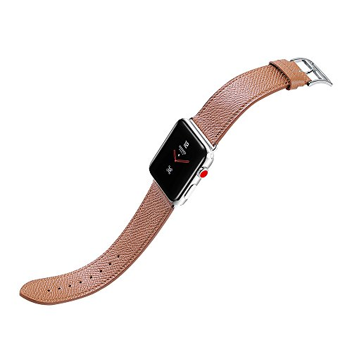 Price comparison product image For Apple Watch, 38mm 42mm Genuine Leather iwatch Strap Replacement Band with Metal Clasp Adapter for Series 3/2/1 Sport and Edition Brown CHIMAERA
