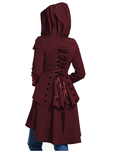Halloween Coat (EastLife Womens Casual Long Sleeve Medieval Dresses Asymmetric Hem Irregular Sweatshirt Lace Up High Low Hooded Coat)