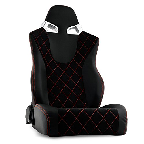 Black PU Leather [Red Stitches Style] Racing Passenger Right Side Seat For Truck SUV Most of Vehicle
