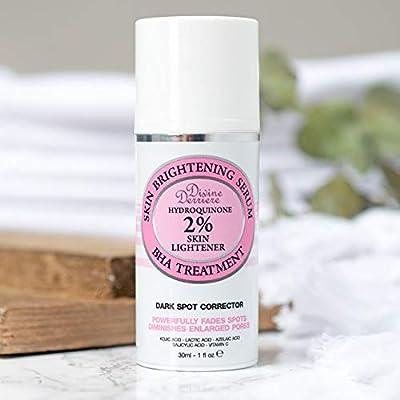 Skin Lightening 2% Hydroquinone Dark Spot Corrector Remover For Face & Melasma Treatment Fade Cream - Contains Vitamin C, Salicylic Acid, Kojic Acid, Azelaic Acid and Lactic Acid Peel 1 oz