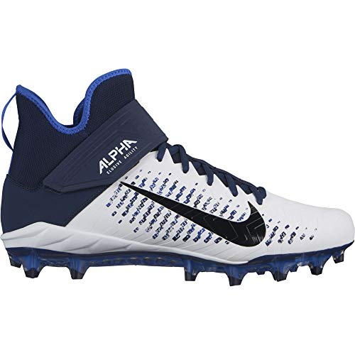 (Nike Men's Alpha Menace Pro 2 Mid Football Cleat White/Black/College Navy/Hyper Royal Size 14 M US)