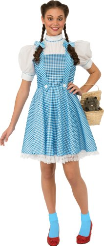 Wizard Costumes Of Oz (Rubie's Costume Women's Wizard Of Oz Adult Dorothy Dress and Hair Bows, Blue/White,)