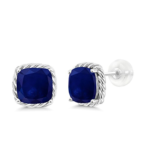 Gem Stone King Blue Sapphire 10K White Gold Stud Earrings 4.00 Ct Gemstone Birthstone Cushion 7MM
