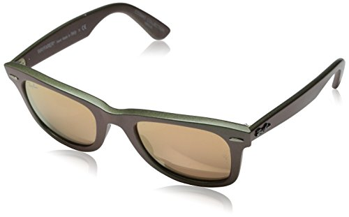 Ray-Ban WAYFARER - METALLIC GREEN Frame LIGHT BROWN MIRROR PINK Lenses 50mm - Ray Sunglasses Wayfarer Ban Mirror