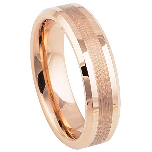 Double Accent 4MM Comfort Fit Tungsten Carbide Wedding Band Shiny Edge Brushed Rose Gold Tone Tungsten Ring (5 to 13), 5.5