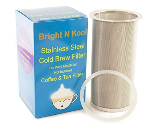 Bright N Kool Cold Brew Coffee and Tea Filter Maker with Sealing Ring - Stainless Steel Reusable Filter - Iced Coffee and Iced Tea Maker Infuser Filter - Fits All Wide Mouth Mason Jar (Filter Only)