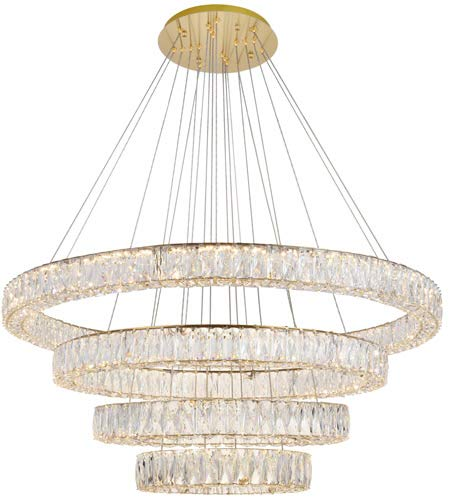 Elegant Lighting Monroe Integrated LED chip Light Gold Chandelier Clear Royal Cut Crystal