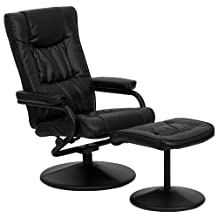 Flash Furniture BT-7862-BK-GG  Contemporary Black Leather soft Recliner/Ottoman with Wrapped Base