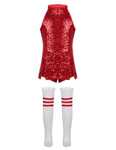 Agoky Children Girls Sequins Hip Hop Modern Jazz Street Dance Costume Kids Stage Performances Dress Outfit Red 10-12]()