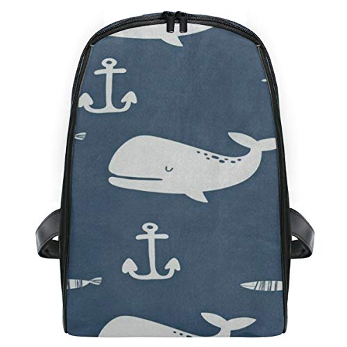 Backpack Vintage White Whale Fish Starfish Personalized Shoulders Bag Classic Lightweight Daypack