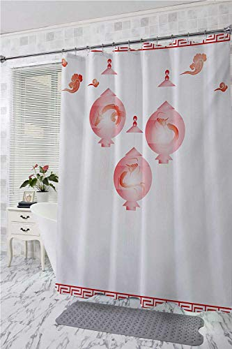 (homecoco Lantern Polyester Shower Curtain Traditional Asian Mid Autumn Festival Pattern with Abstract Shapes in Red Coloring Bath Shower Curtain White Red W72 x L96)