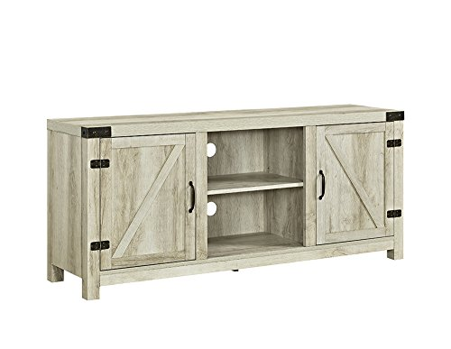 New 58 Inch Wide Barn Door Television Stand In White Oak Finish by Home Accent Furnishings