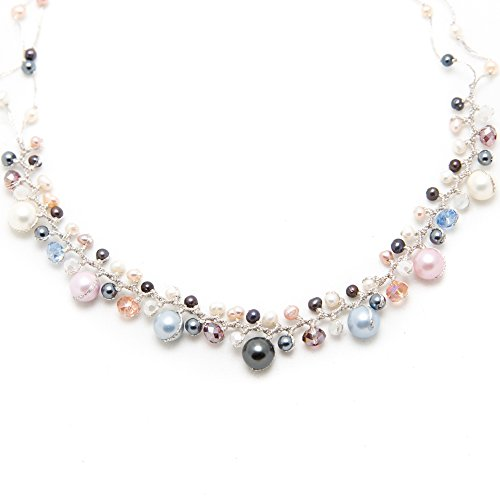 Handmade Pastel Cultured Freshwater Pearl Crystal Beads Silk Thread Cluster Necklace 17