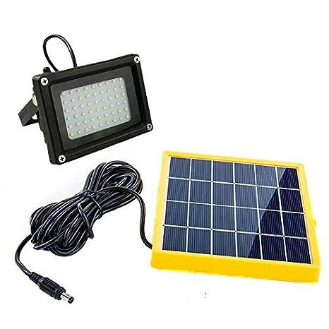 Foco de seguridad con panel solar y con 54LEDES para el aire libre,