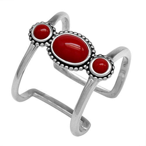 3-Stone Created Red Coral 925 Sterling Silver Bali/Balinese Style Cuff Ring Size (Balinese Silver Ring)