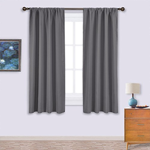 NICETOWN Blackout Curtains Panels for Window - Thermal Insulated Rod Pocket Blackout Drapes/Draperies for Living Room (2 Panels, W42 x L63 -Inch,Grey) (Panel Window Thermal)