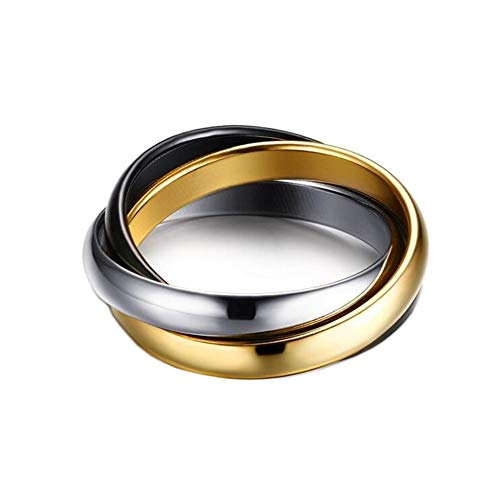 PAMTIER Women's Stainless Steel Tricolor Glossy Interlocked Ring Set Silver Gold Black Size 9