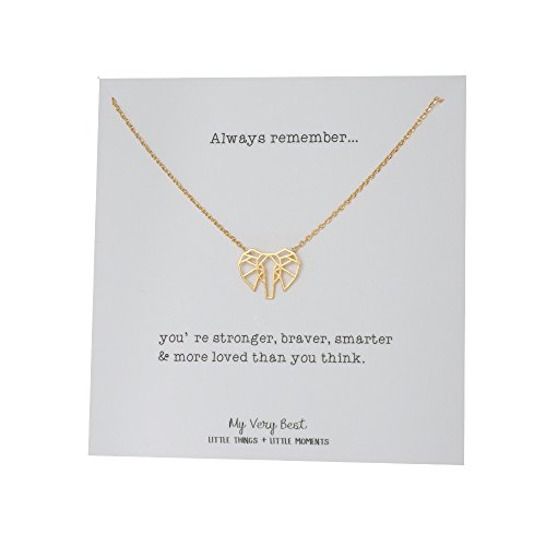 My Very Best Geometric Origami Elephant Necklace (gold plated brass)