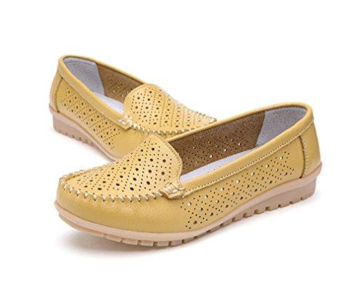 los zapatos cuero mujer Mocasines mujer Bridfa Hole de mujer mujer de Mocasines zapatos Zapatos de de de Yellow de genuino Zapatos FanaxSX8
