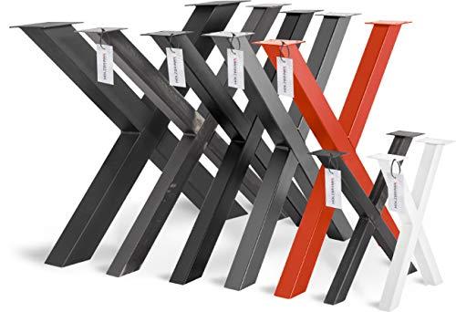 HOLZBRINK 1x Pata de Mesa en Forma de X Perfiles de Acero 60x60 mm, Tamano 80x72 cm, Gris Antracita, HLT-03-G-FF-7016