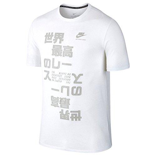 Nike Men's International Logo T-Shirt Small White Matte Gray