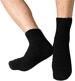 Best Price Solid Color Men Warm Thicken Coral Fleece Crew Socks Fluffy Sleep Bed Socks