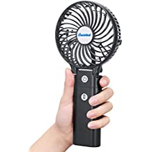 Gazeled Portable Fans Battery Operated, Handheld Personal Fan, 4 Inch Small Rechargable Fan with 6700mAh Power Bank, 6.5-21H Working Time, 3 Setting, Strong Wind, Foldable Design for Travel, Camping