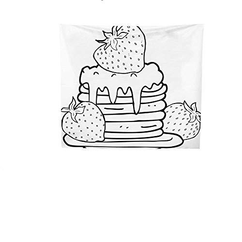y Tapestry Black.jpg and.jpg White.jpg Cartoon.jpg Pancake.jpg Stack.jpg with.jpg Strawberries.jpg Art Tapestry 70W x 70L Inch ()