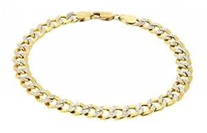 "Men's Two Tone Diamond Cut Real Solid 14K Yellow Gold Flat Cuban Curb Link Chain Bracelet 8"" 6.5mm 6.6 Grams"
