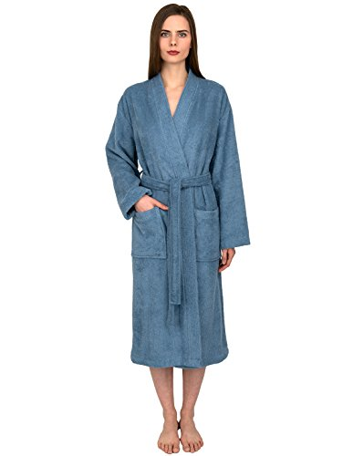 TowelSelections Women's Robe Turkish Cotton Terry Kimono Bathrobe X-Large/XX-Large Blue Heaven