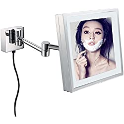 GURUN Square Makeup Mirror Wall Mounted with LED Lights