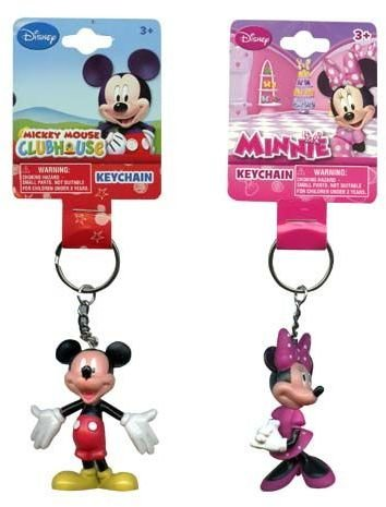 Bulk Buys Disney Mickey and Minnie Mouse 3d Keychain 2 Pcs