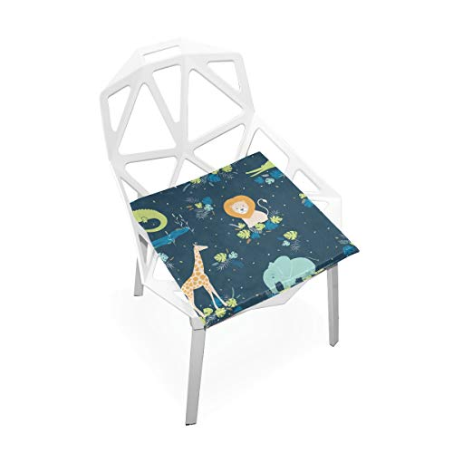SUABO PLAO Chair Pads Tropical Animals Soft Seat Cushions Nonslip Chair Mats for Dining, Patio, Camping, Kitchen Chairs, Home Decor by SUABO