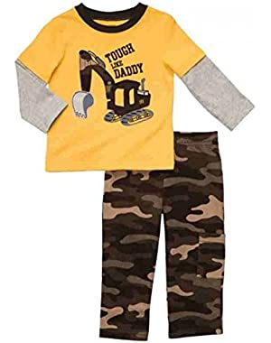 Carters Infant Boys Outfit Mock Layered Yellow Bulldozer T-Shirt & Camo Pants