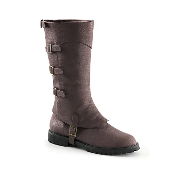 Summitfashions Mens Convertible Brown Knee High Boots with Buckle Detail and 1.5 Flat Heels 3