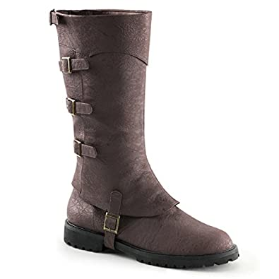 Amazon.com   Mens Convertible Brown Knee High Boots with Buckle ...