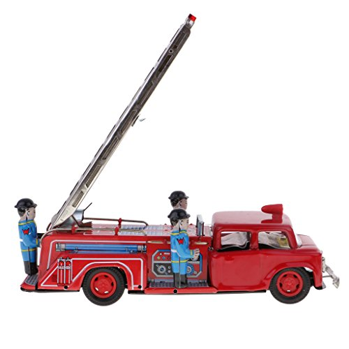 (MonkeyJack Inertia Powered Metal Die-cast Fire Truck Car Vehicle Model Tin Toys Gifts)