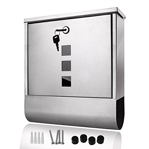 [Homdox Stainless Steel Wall Mounted Mailbox Lockable Letterbox Post Box with Retrieval Door & Newspaper Roll [US in Stock]] (White Classic Mailbox System)