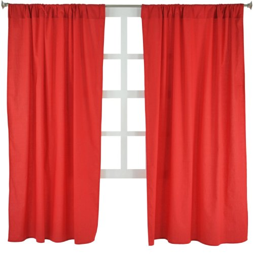 (Tadpoles Basics Set of 2 Curtain Panels, Solid Red, 63