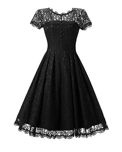 Nite closet Black Gothic Lace Dresses for Women Sweet Lolita Vintage (Black, ()