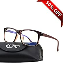 CGID CT12 Blue Light Blocking Glasses, Anti Glare Fatigue Blocking Headaches Eye Strain, Safety Glasses for Computer/Phone, Vintage Rectangle Brown Frame,Transparent Lens
