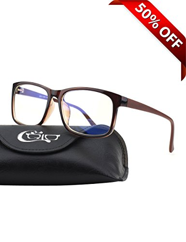 CGID CT12 Blue Light Blocking Glasses, Anti Glare Fatigue Blocking Headaches Eye Strain, Safety Glasses for Computer/Phone, Vintage Rectangle Brown Frame,Transparent - Computer For Glasses Use Protective