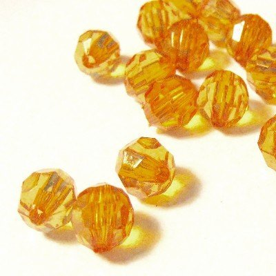 8mm Round Beads 25 (25g Acrylic Faceted Round Beads - Golden Yellow - KB0716 / 8mm by k2-accessories Acrylic Plastic Beads)