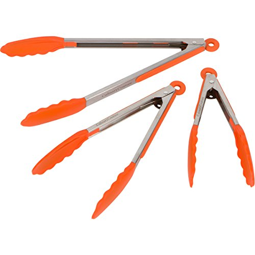 Orange Mini Dish (Orange Silicone Cooking Feeding Tongs - Set Of 3 Kitchen Locking Tongs-7,9,12