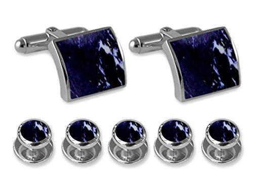- Sterling silver lapis Cufflinks Shirt Dress Studs Gift Set