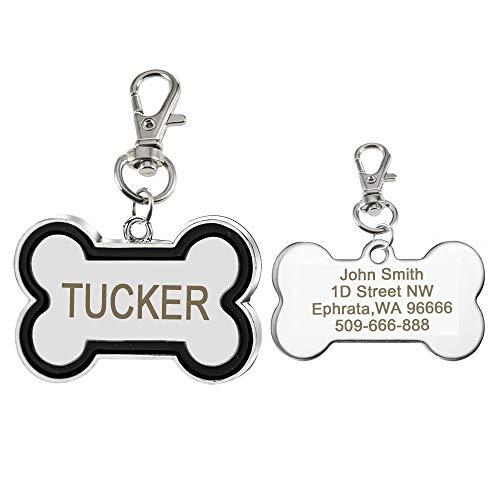 Didog Custom Pet ID Tags,Bone Shaped,Free Engraving and Gift