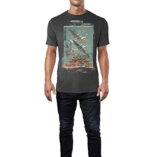 SINUS ART® Planes Herren T-Shirts stilvolles rauch graues Fun Shirt mit tollen Aufdruck